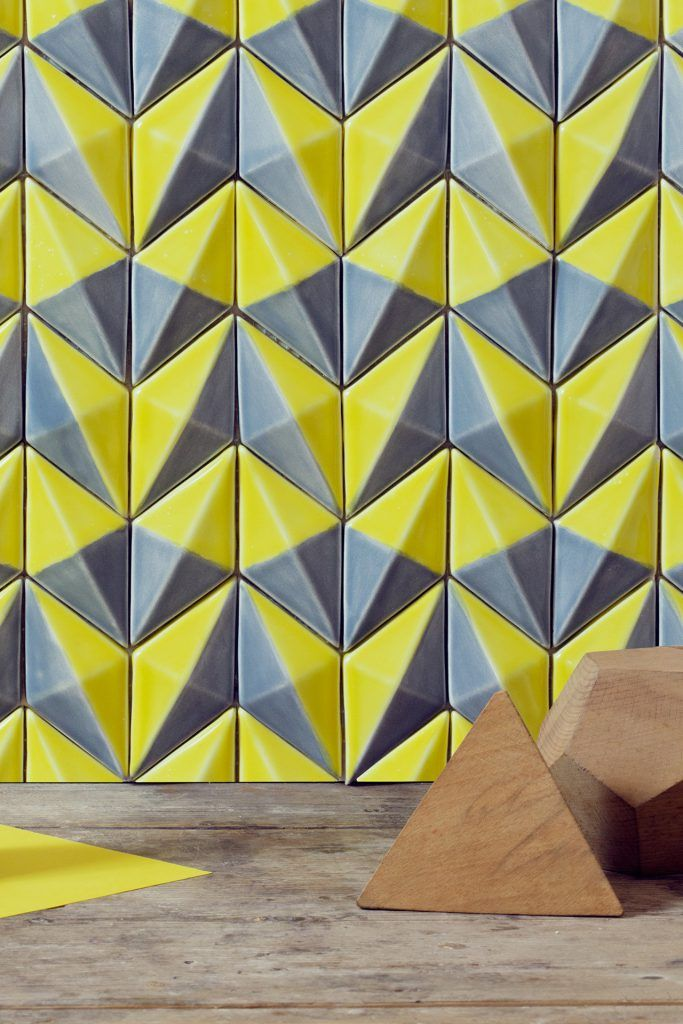 botteganove diamantino italian artisan tile in yello and grey used for cladding or walls. found in ajami surfaces flooring and granite in miami